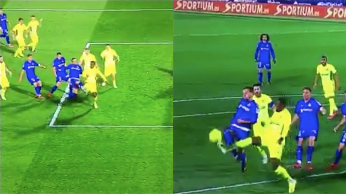 El árbitro no señaló penalti de Dembélé.