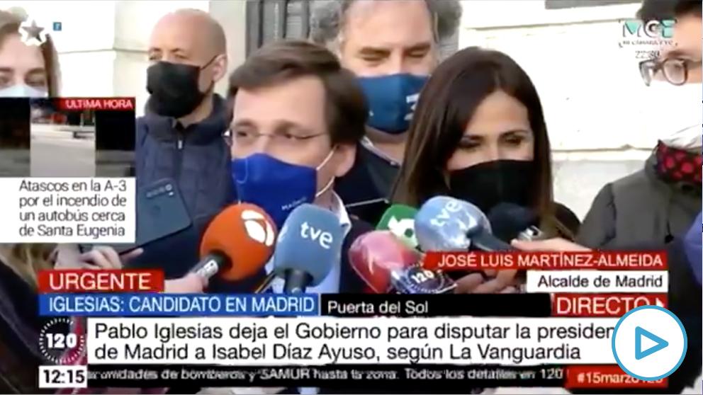 José Luis Martínez-Almeida se burla de la candidatura de Pablo Iglesias para las elecciones de la Comunidad de Madrid.