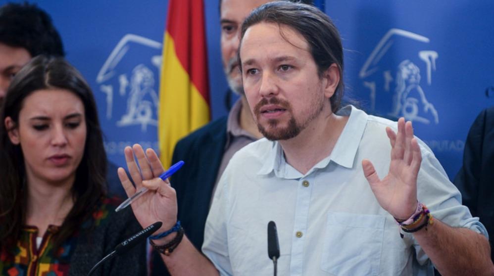 Pablo Iglesias en rueda de prensa en el Congreso. (Foto. Podemos)