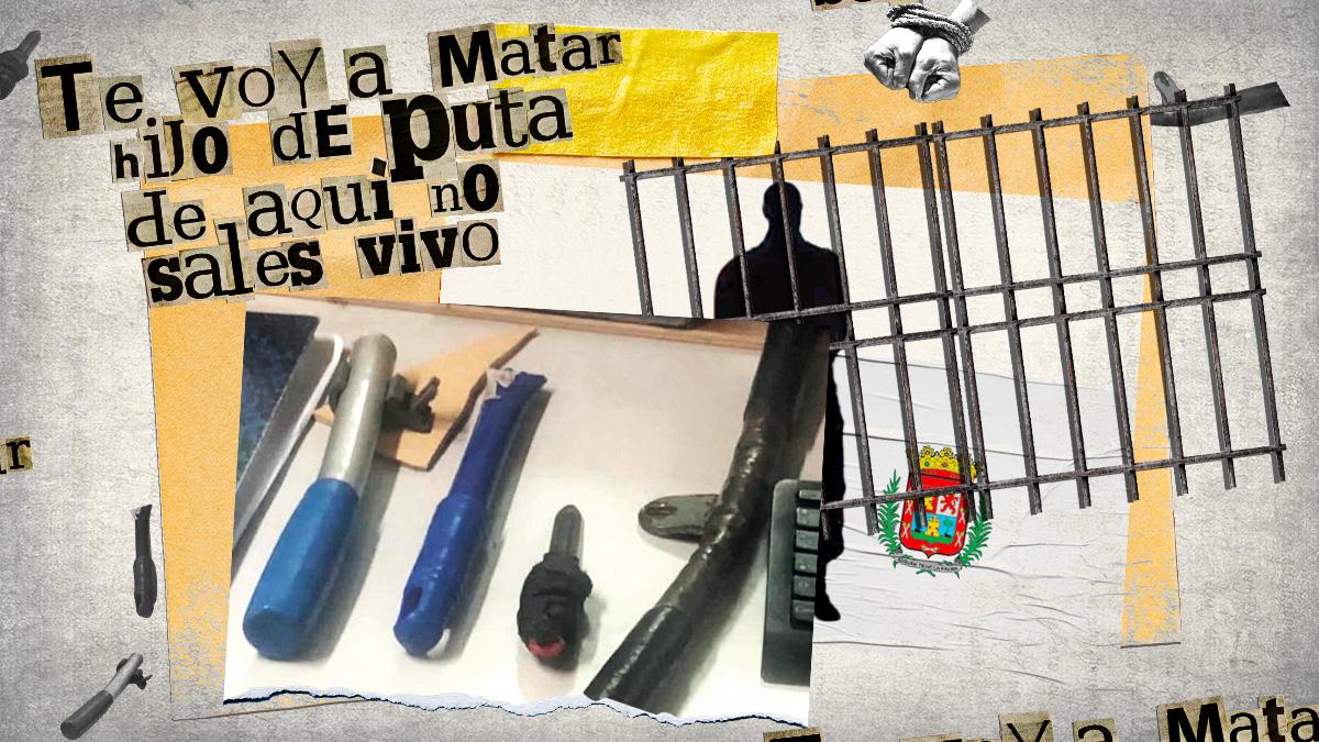 Imagen real de las armas intervenidas a los presos que intentaron secuestrar y apuñalaron a un funcionario de prisiones en Las Palmas.