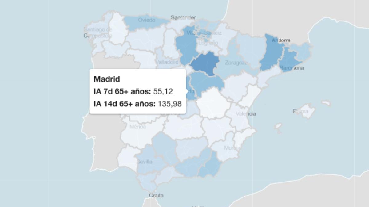 Incidencia acumulada en mayores de 65 años según el ISCIII, dato que saca a Madrid del riesgo extremo y desmiente a Sanidad.