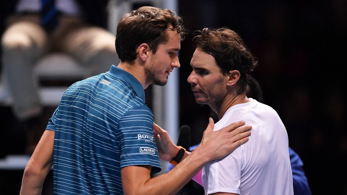 Medvedev y Nadal, tras un partido. (Getty)