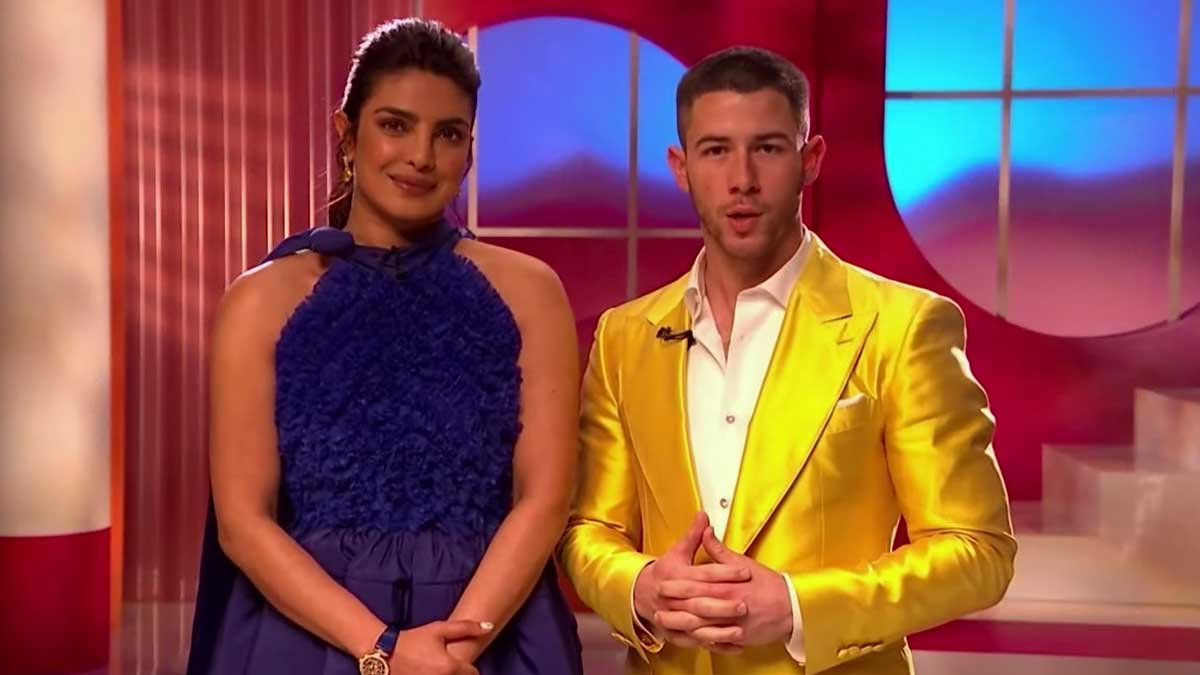 La actriz y productora Priyanka Chopra y su marido, el cantante Nick Jonas, en directo desde Londres anunciando los nominados a los premios Oscar 2021.