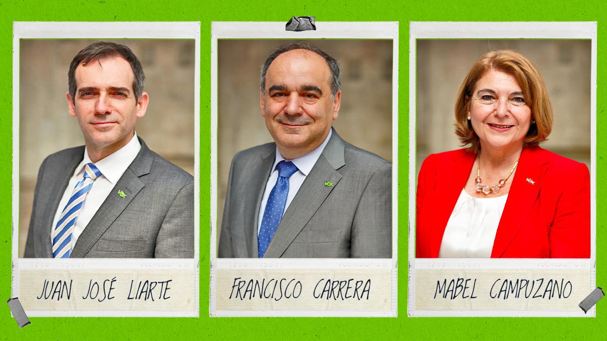 Los tres diputados de Vox en Murcia que no están bajo la disciplina de partido.