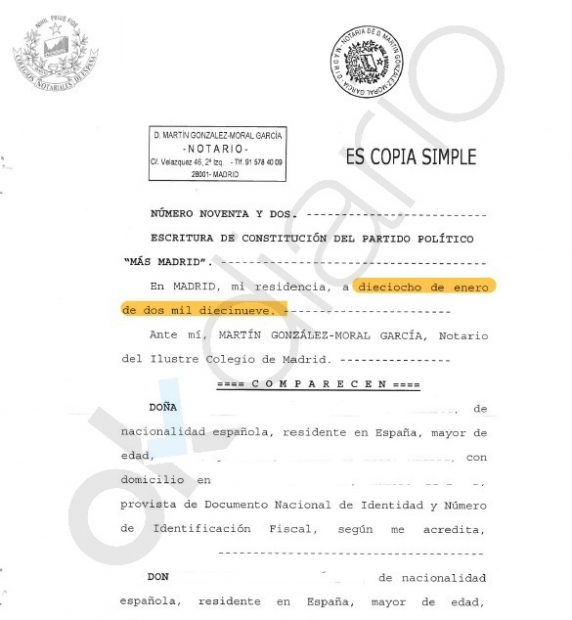 Acta notarial presentado por Podemos para robar a íñigo Errejón la marca de 'Más Madrid'