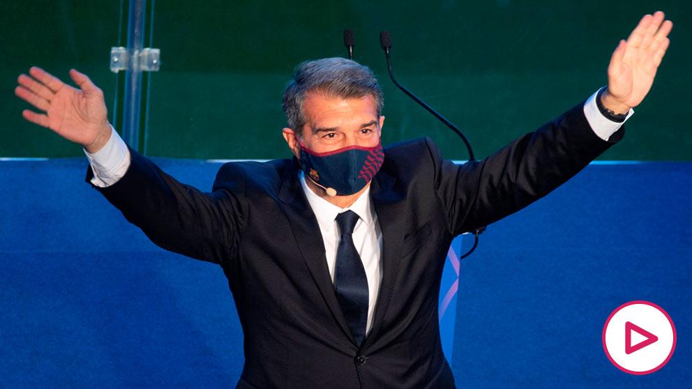 Joan Laporta en su acto de investidura como nuevo presidente del Barça.