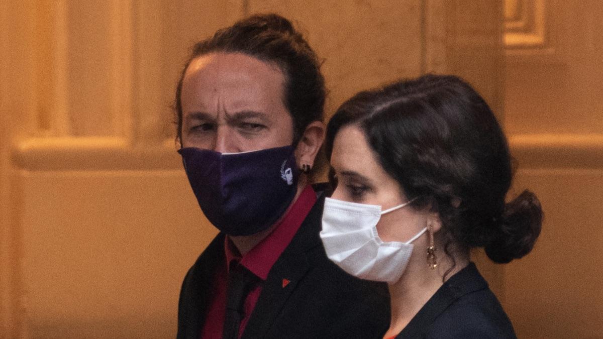 Pablo Iglesias junto a Isabel Díaz Ayuso. (Foto: EP)