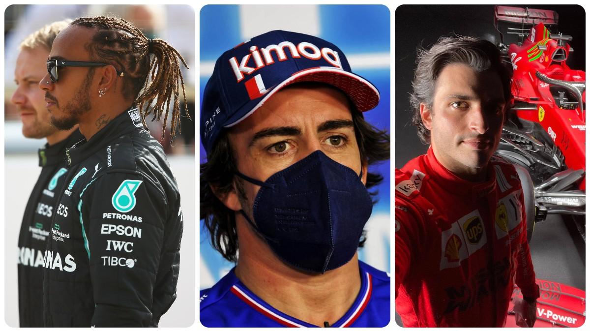 Lewis Hamilton, Fernando Alonso y Carlos Sainz.