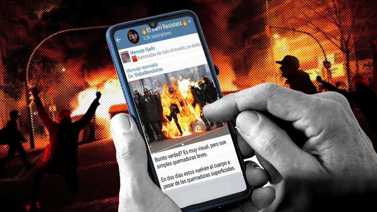 La imagen de los policías ardiendo que están difundiendo de cara a las manifestaciones de Madrid.