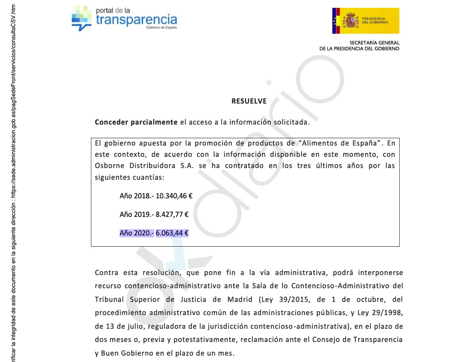 Sánchez gastó 6.063 € en jamones de bellota 5J para La Moncloa en plena pandemia sin actos públicos