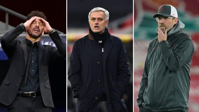 Simeone, Mourinho y Klopp: entrenadores galácticos en horas bajas