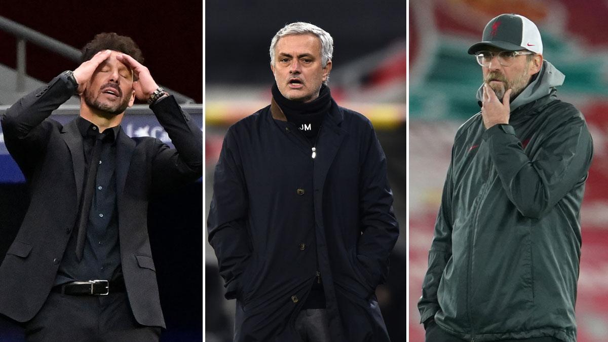 Simeone, Mourinho y Klopp (AFP)