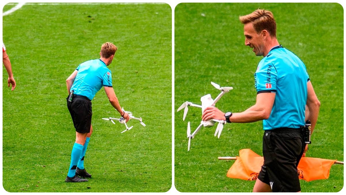 Un dron con un mensaje en contra de la Eurocopa en Bilbao cayó en San Mamés. (EFE)