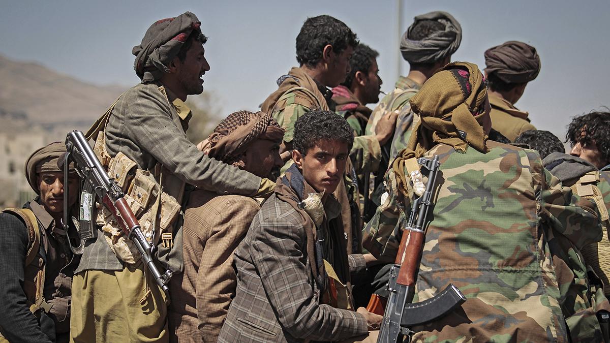 Un grupo de rebeldes hutíes.