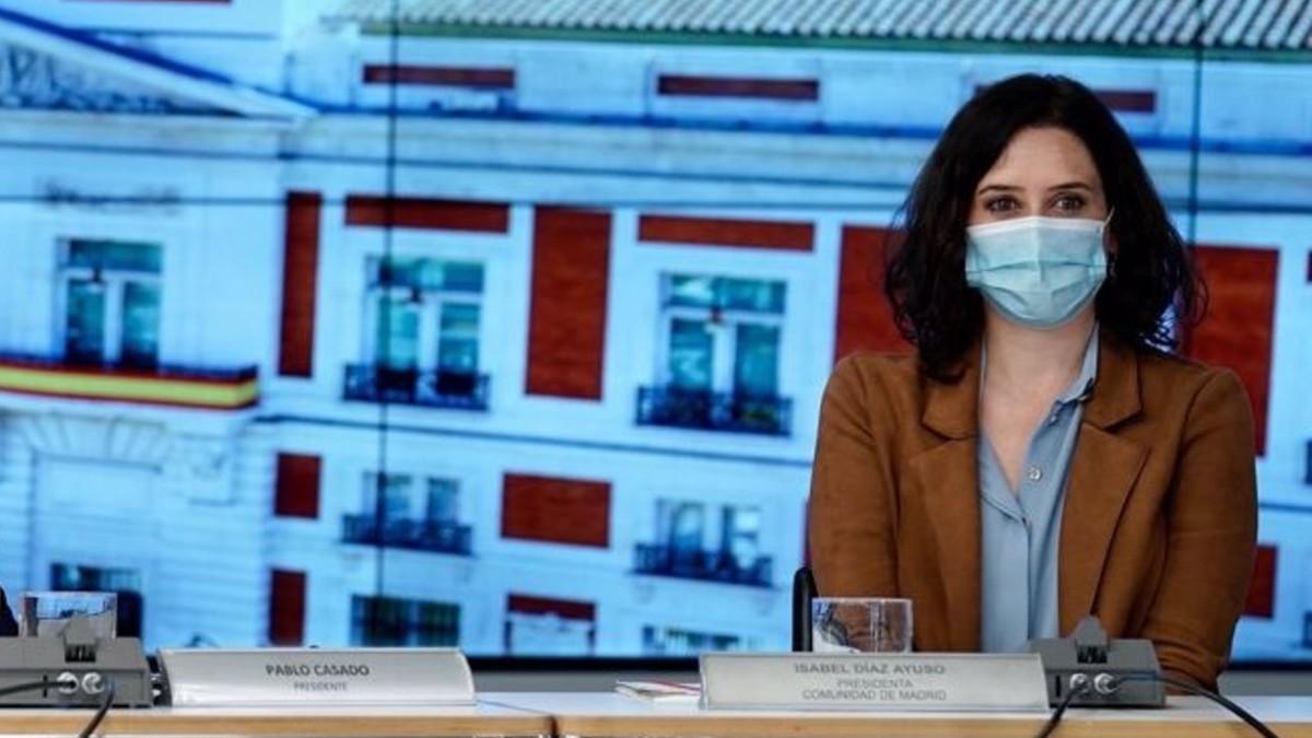 Díaz Ayuso durante la jornada organizada por el Partido Popular Europeo sobre diálogo social europeo. (Foto: Europa Press)