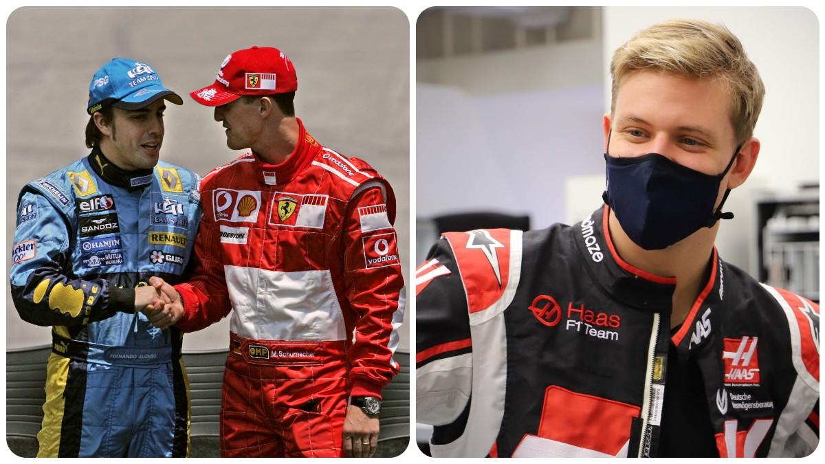 Fernando Alonso con Michael Schumacher y Mick Schumacher.