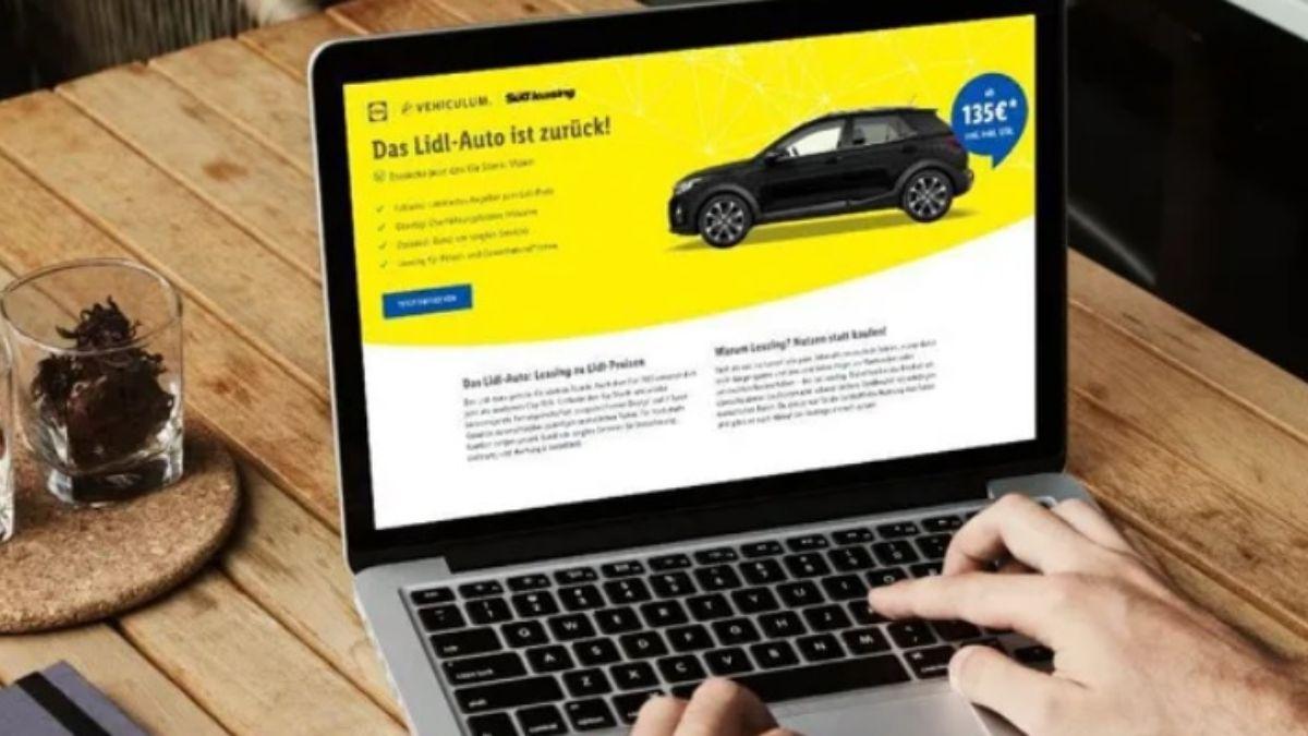 Imagen del portal para alquilar los coches de Lidl/ Foto: Lidl