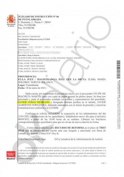 Javier Tebas, imputado por apropiación indebida y estafa en el 'Caso Fuenlabrada'