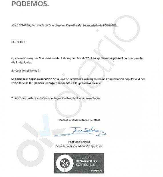 Acuerdo firmado por Ione Belarra para desviar 50.000 euros de la Caja B de Podemos a la productora Comunicación Popular #404.