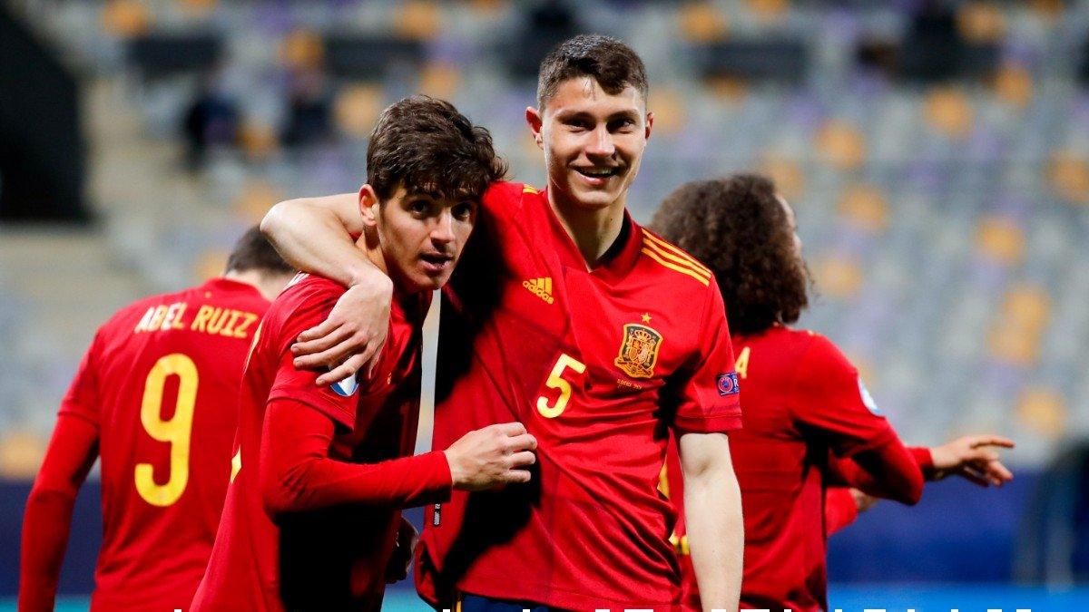 España celebra un gol ante Eslovenia. (RFEF)