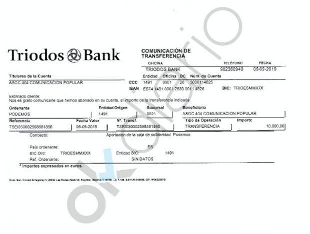 Extracto bancario de la donación realizada por la Caja de Solidaridad a la asociación #404 Comunicación Popular.