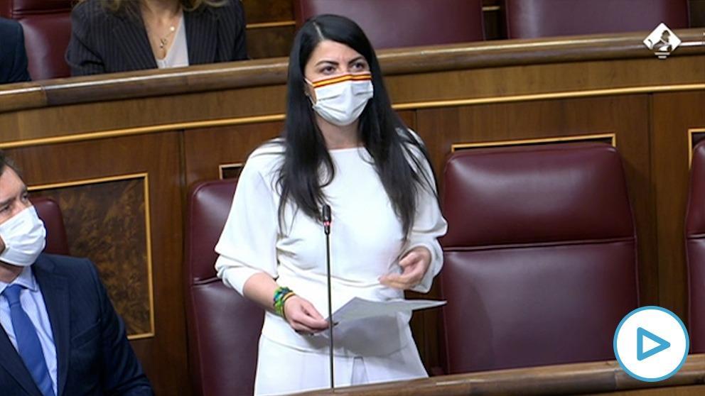 Macarena Olona (Vox), en el Congreso de los Diputados.