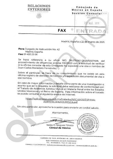 Carta de la embajada de México al juez
