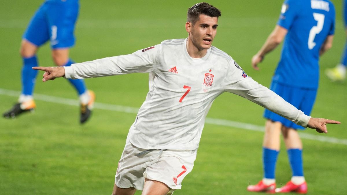 Morata celebra un gol ante Grecia. (AFP)