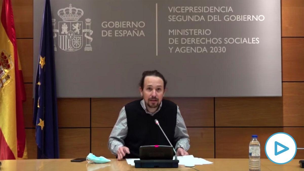 Pablo Iglesias vendiendo su candidatura al 4M desde la sede de la Vicepresidencia Segunda.