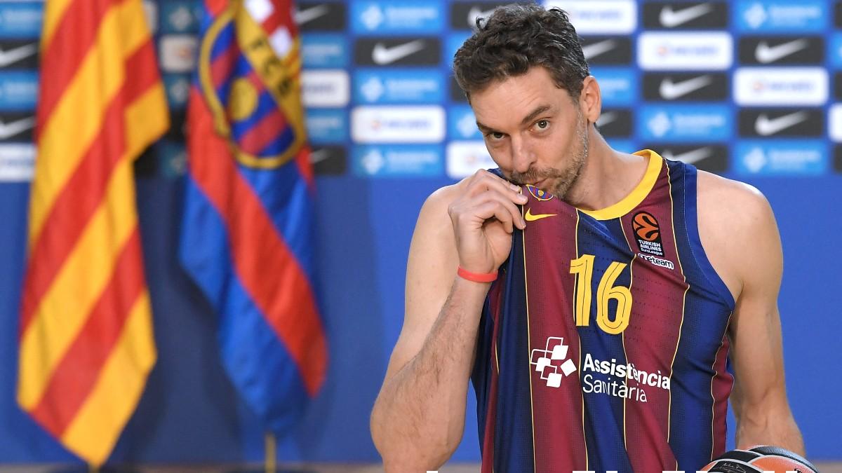 Pau Gasol, en su presentación con el Barcelona. (AFP)