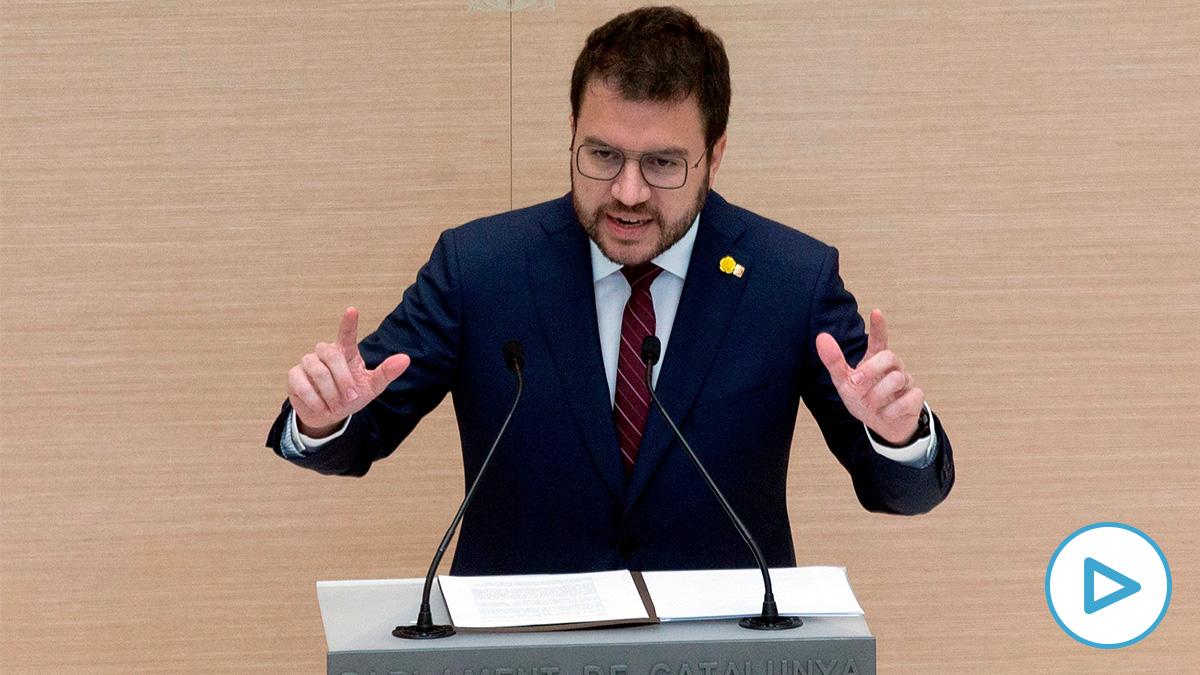 Pere Aragonès, este viernes, durante el debate de investidura
