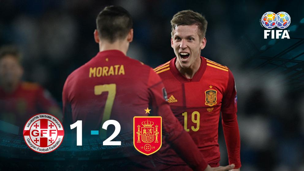 España ganó 1-2 a Georgia con un gol postrero de Dani Olmo.