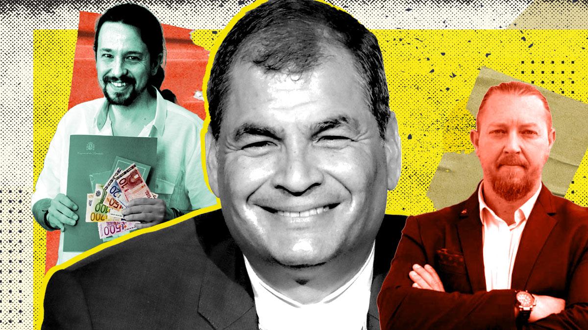 Pablo Iglesias, Rafael Correa y David Morales
