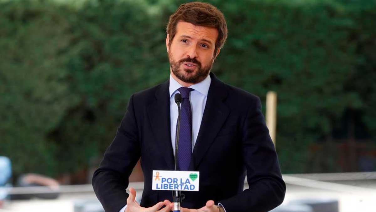 El presidente del PP, Pablo Casado, durante la presentación del recurso de inconstitucionalidad contra la nueva Ley de Educación, conocida como 'Ley Celaá', este lunes en Madrid. Foto: EFE