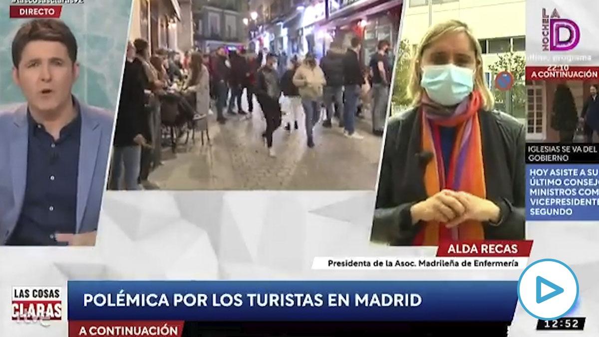 Alda Recas, activista de Más Madrid, entrevistada en TVE como presidenta de la Asociación Madrileña de Enfermería (AME).