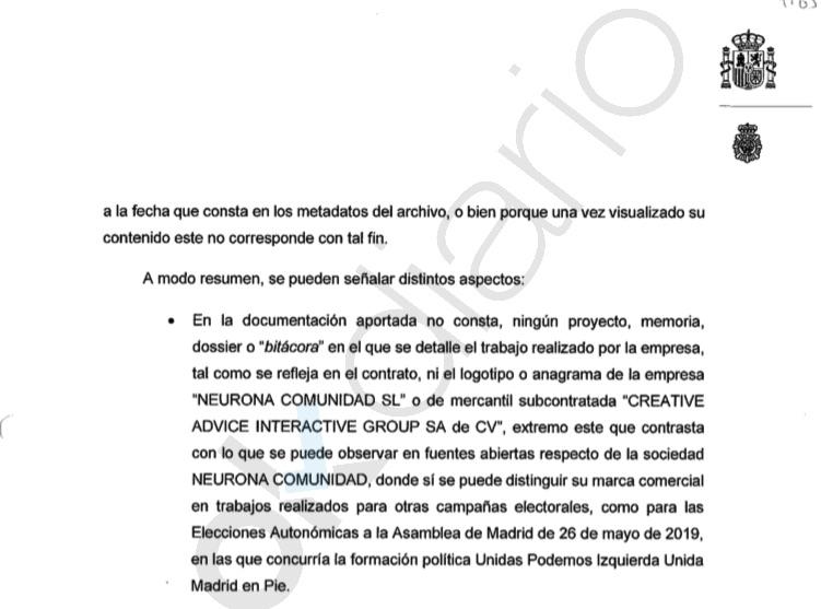La UDEF concluye que Neurona no hizo los trabajos contratados por Podemos