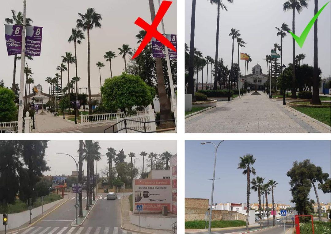 Las calles de Espartinas, con y sin carteles del 8M(Foto: Twitter Vox Espartinas).