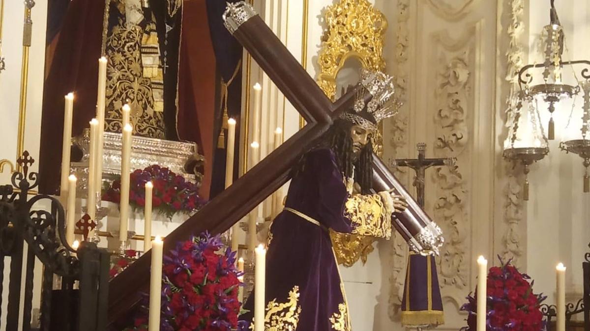 Imagen de Nuestro Padre Jesús Nazareno, conocido en Málaga como Jesús el Rico,cuya cofradía tiene la potestad de liberar un preso en Semana Santa.