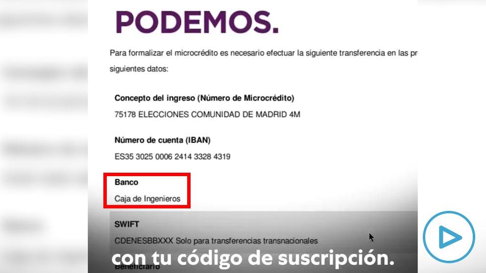 Iglesias dirige el dinero de su crowdfunding antiAyuso a la Caja de Ingenieros que le financió su casoplón