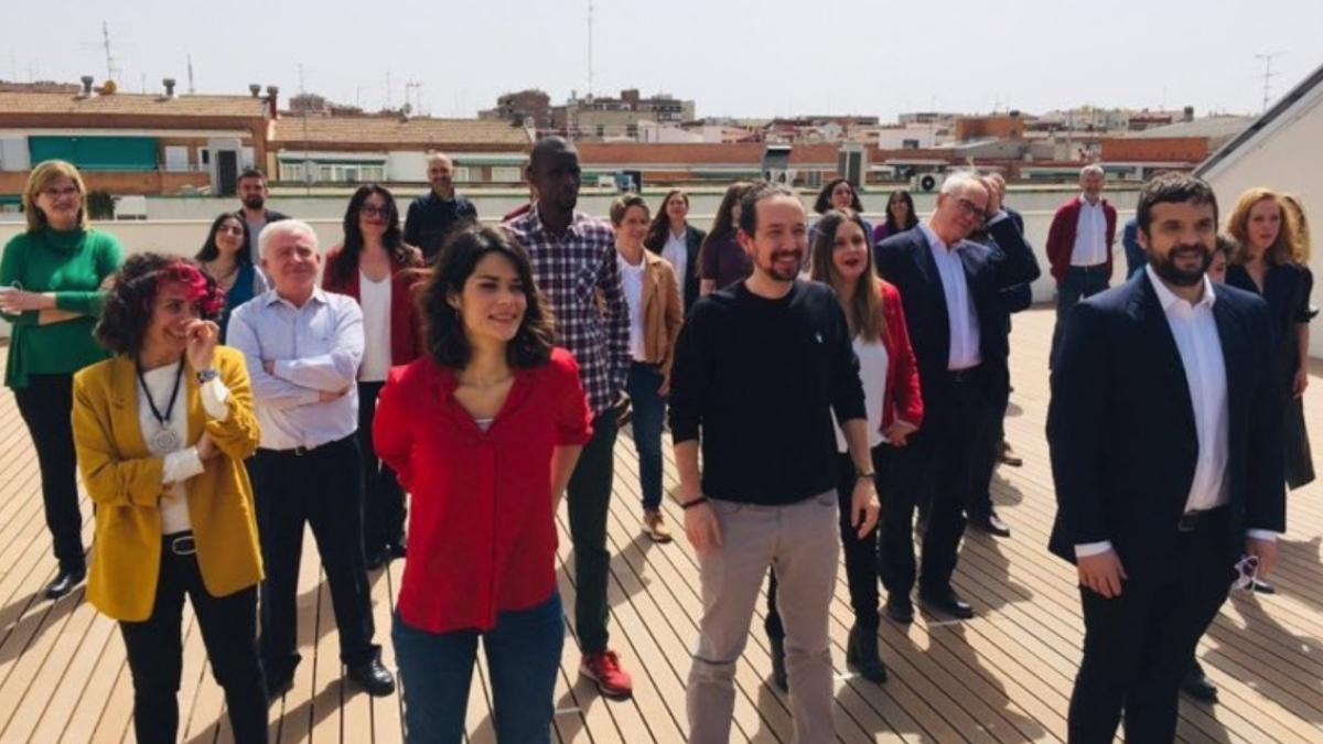 Pablo Iglesias y sus candidatos para Madrid.