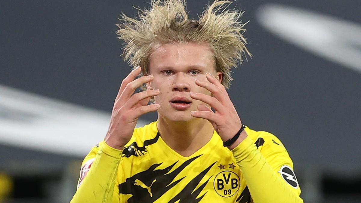 Haaland, en un partido con el Borussia Dortmund. (Getty)