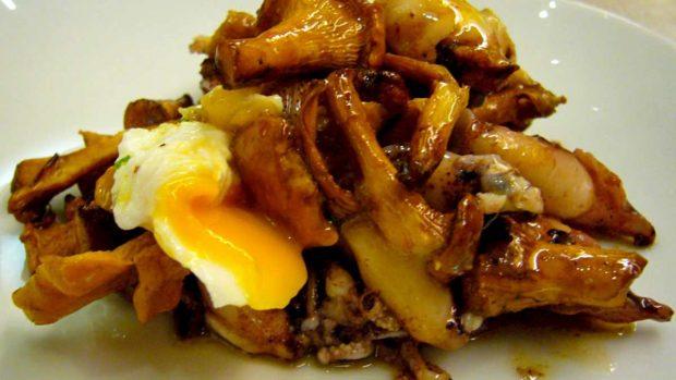 Huevos rotos con salsa de boletus y trufas
