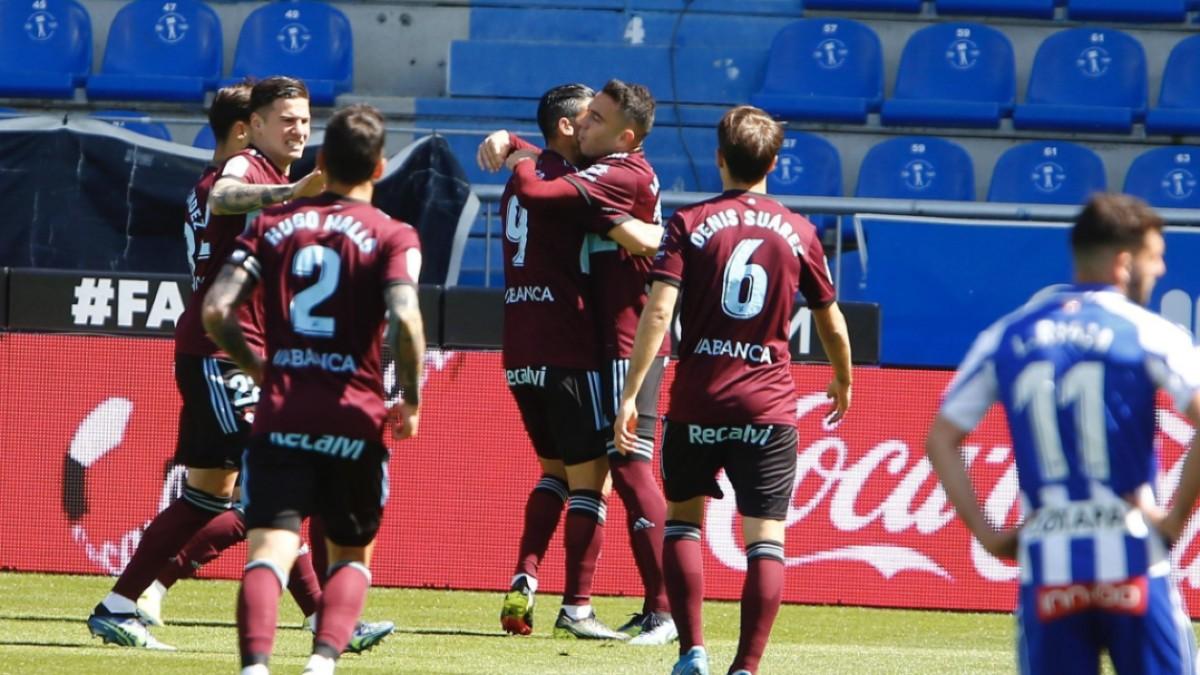 Los jugadores del Celta celebran un gol (RC Celta)