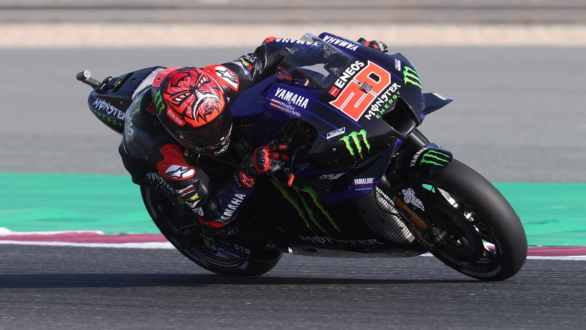 Fabio Quartararo durante el Gran Premio de Doha de MotoGP. (AFP)