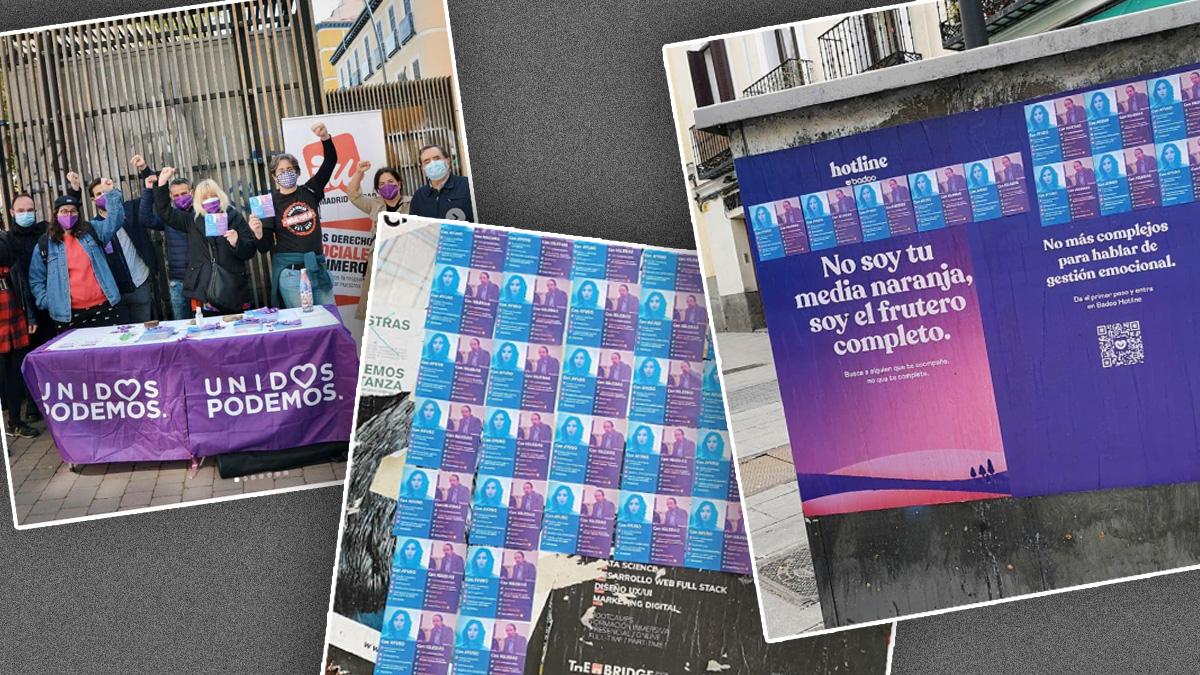 Algunos de los carteles de Podemos por el centro de Madrid