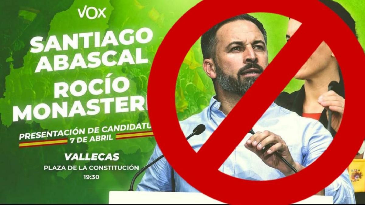 Cartel difundido por 'Vallekas Antifa' contra el acto de Vox de este miércoles.