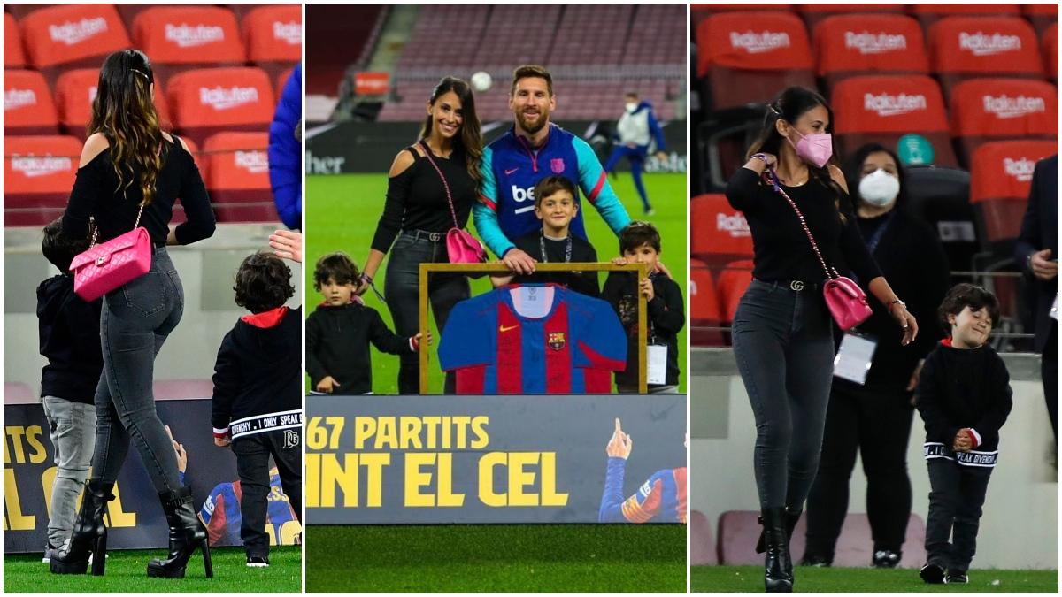 Antonela Roccuzzo en el Camp Nou