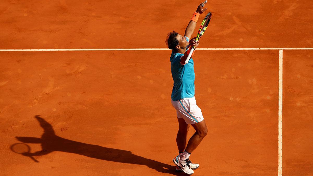 Rafa Nadal celebra la victoria tras un partido en Montecarlo 2019 (Getty)