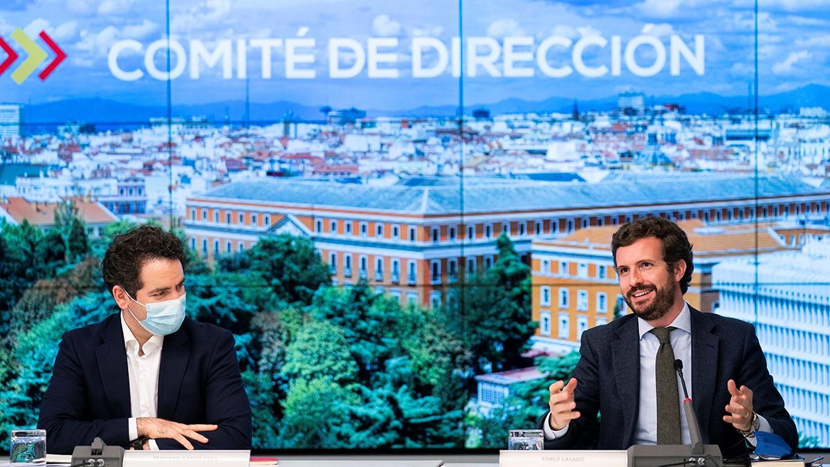 Pablo Casado y Teodoro Garcí aEgea, en la reunión de ayer del Comité de Dirección del PP.