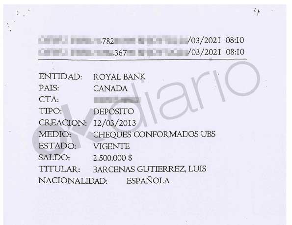 Depósito abonado a una cuenta a nombre de Luis Bárcenas en el Royal Bank que investiga la Audiencia Nacional